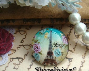 SALE - 30% OFF Glass Cabochon, 8mm 10mm 12mm 14mm 16mm 20mm 25mm 30mm Round Handmade photo glass Cabochons   (Eiffel Tower) -- BCH725A