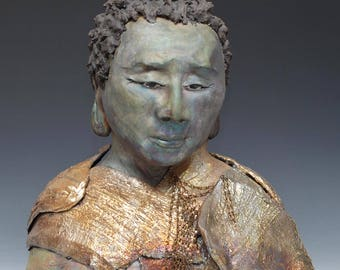 Large Figurative Sculpture Bust  of Buddha and Compassion by Anita Feng