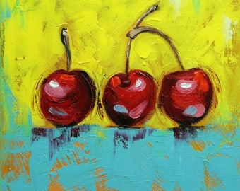 Cherries 15 still life painting 12x12 inch original oil painting by Roz