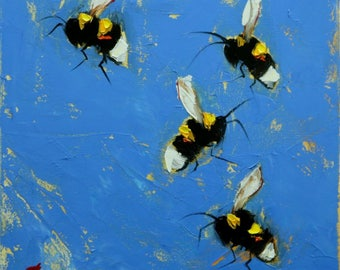 Bee painting 398 12x12 inch insect animal portrait original oil painting by Roz