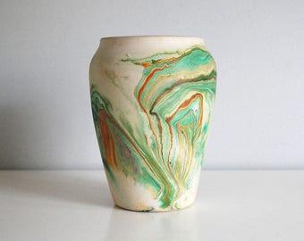 Nemadji Pottery Vase, Faux Indian Pot, American Art Pottery, Swirled Earth Color Paint, Marbled Green Orange Vase, Boho Chic Decor
