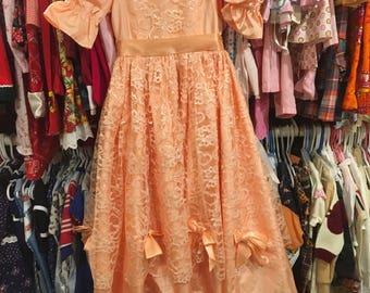 80s Peach Dress 5T