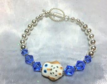 Blue Eye Owl Bracelet #524