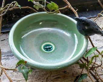 Ceramic Crow Dish with Melted Glass