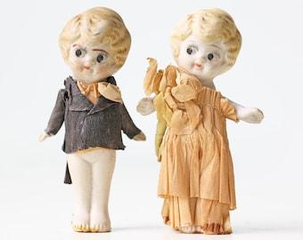 Vintage Wedding Toppers, Bride and Groom, Bisque Kewpie Dolls, Japan