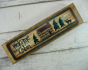 WOODEN BLOCK SIGN Welcome To Our Cabin Wood Metal Gift Shelf Sitter Rustic Primitive Country