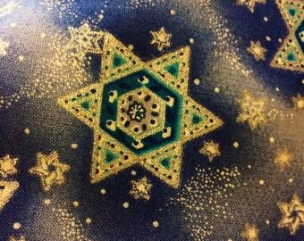 """Judaic Fabric Silver Stars of David on Blue by Hi Fashion Fabric by the  Half Yard 18"""" x 44"""""""