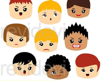 50% OFF SALE Emotion clipart, feelings clipart - Emotion Boy Faces clip art digital images - instant download