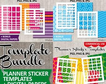 Commercial use templates stickers planner Erin Condren Vertical / Bundle Sale / DIY kit template printable collage sticker sheets