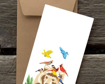 Bear and Birds -- 8 Blank flat cards and envelopes