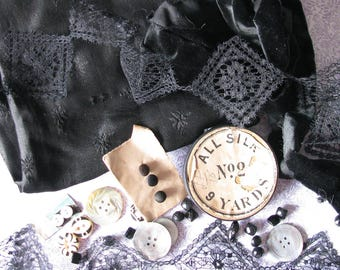 Moving Sale! Lot of Old Back Fabric, Lace, & Antique Buttons