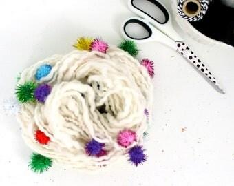 snow cone 2    .. hand spun yarn, art yarn, handspun art yarn, wool yarn, boucle yarn, bulky yarn, handspun wool yarn