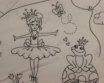 A Royal Life color me ballerina frog princess castle unicorn kitty  100% cotton fabric by hayley crouse of mouse house for Michael Miller
