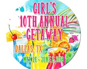 Colorful Tropical Drinks Girls Getaway Vacation Trip 3 1/2 Inch Pinback Button Badges