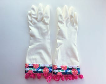 Designer Cleaning Gloves. Size Small. Latex Free Kitchen Dish Gloves. Roses and Stripes. Pink Pom Poms.