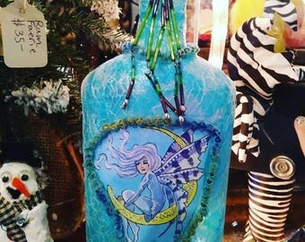 Fairy Night Light Repurposed Bottles a Twinkling Turquoise and Purple