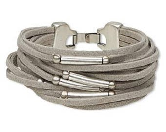 Grey Suede and Pewter 16-Strand Bracelet