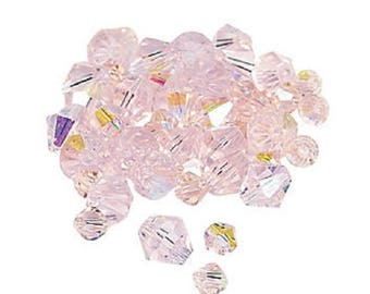 Light Pink Aurora Borealis Cut Crystal Bicone Beads, 4mm to 6mm, pack of 48