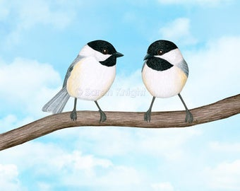chickadee chitter chatter - signed digital illustration art print 8X10 inches - sky bue clouds white gray birds