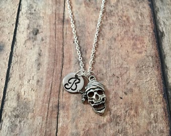 Pirate skull initial necklace - skull jewelry, pirate necklace, silver pirate skull pendant, pirate jewelry, skeleton necklace