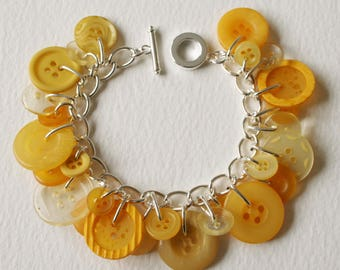 Button Bracelet Lemon Yellow Pastel Mix