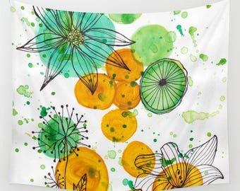 wall tapestry-fabric wall hanging-nature-floral-geometric-watercolor illustration-home decor-yellow-green-white-modern wall art