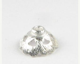 SHOP SALE Matte Brushed Sterling Silver Scalloped Flower Bead Caps Connectors Links 10mm (4 pieces)