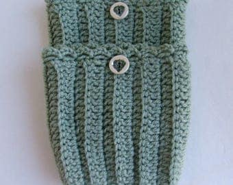Boot Cuffs, Hand Crochet, with Handmade Button, Frosty Green - 4 dollars off without button