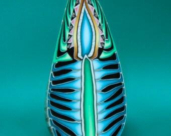 Blue Polymer Clay Feathered Leaf Cane -'Dream a Little Dream' series (34cc)
