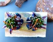 Iridescent Bead Crochet Flowers on Post Earrings
