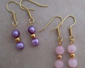 rose quartz and purple pearl gold plated earrings