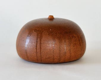 Mid Century Modern Pottery Brown Weed Pot Vase