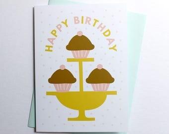 Birthday Cupcakes Greeting Card illustration stationery