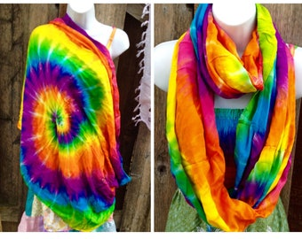 Tie dye scarves, Tie dye nursing scarf, rainbow scarf, Soft Rayon, unique handmade gifts for her,soft Scarf, lightweight nursing wrap