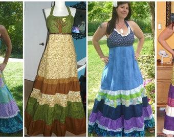 Grateful Dead Dress,Hippie Patchwork Spinner Dress,Festival Dress,Grateful Dead sun dress,dancing bear dress,Steal your face,custom