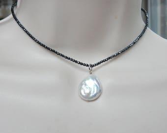 "Hematite Chocker with biwa pearl pendant   (13"" + 1.75"")"