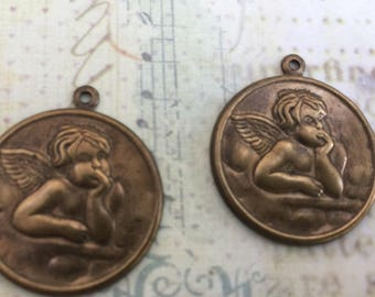 Large Cherub Charms Set of 2 Hand Finished in Oxidized Brass