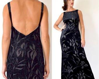 SUMMER SALE/ 30% off Vintage 90s Black Velvet Floral Cut Out Open Back Maxi Dress (size