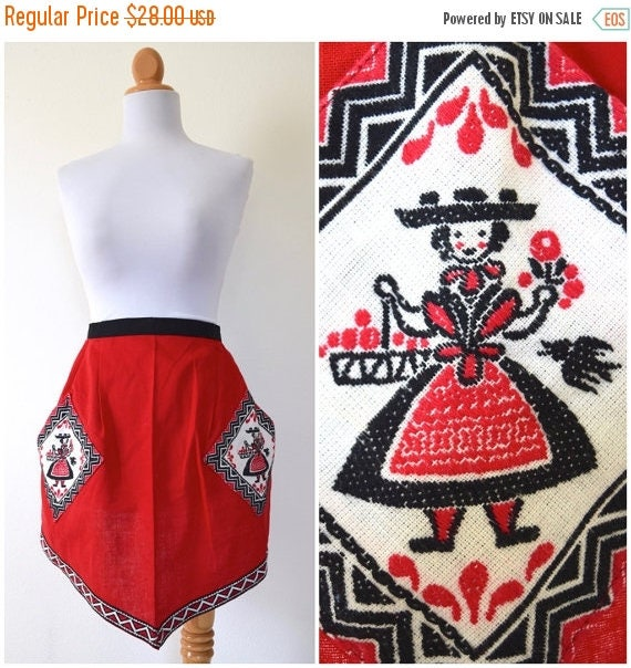 SUMMER SALE / 20% off Vintage 60s 70s A Tisket A Tasket Red Apron with Embroidered Pockets and Trim