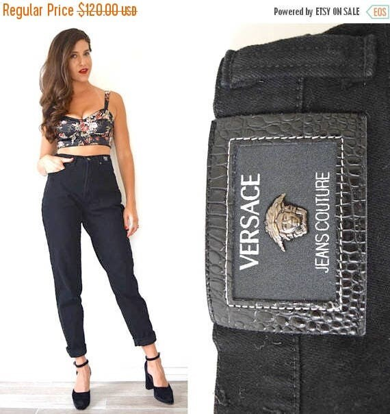 SUMMER SALE / 20% off Vintage 90s VERSACE Black High Waisted Stretchy Tapered Leg Jeans (size 29)