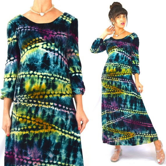 Vintage 60s 70s Rainbow Tie Dye Velvet Empire Waist Gown (size xs)