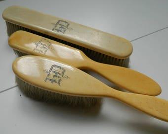 3 Dressing Table Monogrammed hairbrushes - 1880s hairbrushes - Clothesbrush Vintage Vanity decor -