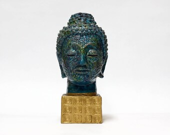 BITOSSI Buddha Head Sculpture, Aldo Londi, Italian Pottery, Blue Ceramic Buddha, Mid Century Modern Home Decor