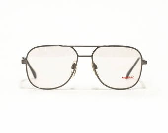 Vintage Mens Eyeglasses Frame, MENRAD 303, Gray Metal Aviator, German Eyewear in New Old Stock Condition - Free Shipping
