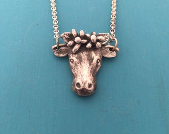 Ode to Ferdinand sterling silver cow with flowers necklace