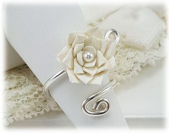 Lotus Adjustable Silver Wrap Ring - Lotus Jewelry
