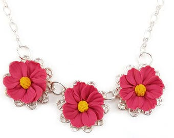 Three Cosmos Necklace - Trio Cosmos Jewelry, Cosmos Filigree Necklace, Pink Flower Jewelry, Pink Cosmos