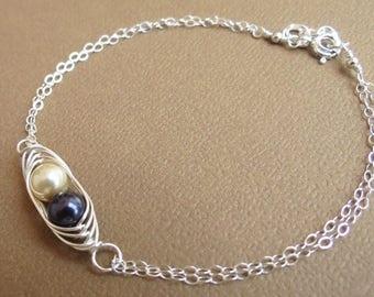 ON SALE Sterling Silver Bracelet, Pea in a Pod Bracelet, Silver Bracelet,Pearl Jewelry,Wedding Bracelet,Flower Girl,Swarovski Pearls,Mother