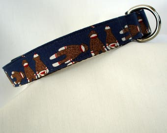 Sock Monkeys - Large Dog Collar - Sock Monkey - 1 Inch Wide - Adjustable Between 15-23 Inches - Silly Boy Dog Collar - READY TO SHIP