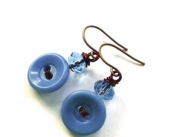 BUTTON JEWELRY SALE Light Blue Vintage Button Earrings on Brown Wire
